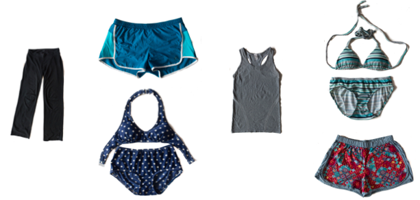 Misc clothing for working out, sleeping and swimming.